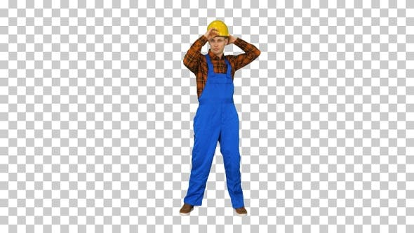 Thumbnail for Single Construction Worker Puts on Safety Hat and Does Some