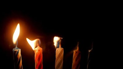 Close Up View of Burning Birthday Candles