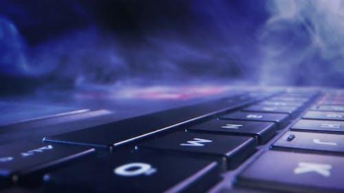 Laptop Pc Keyboard Macro View and Smoke