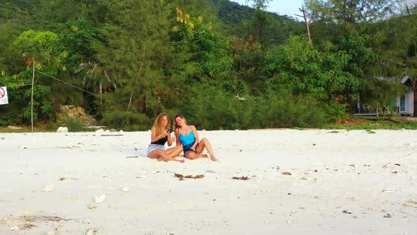 Thumbnail for Women tanning on exotic resort beach time by transparent ocean with white sandy background of Thaila