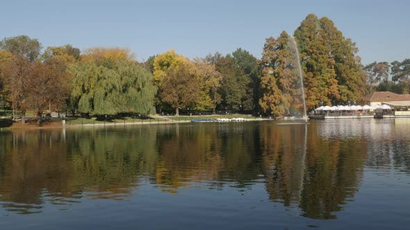 Thumbnail for Reflections on pond water in the  park by autumn 3840X2160 UltraHD  footage - Colorful natural scene