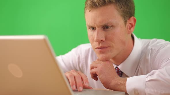 Thumbnail for Close up of businessman on laptop computer