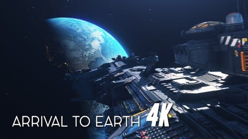 Space Ship Arrival to Earth 4K