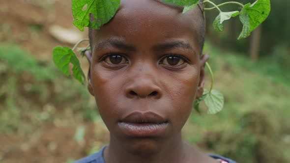 Thumbnail for African girl with a leaf crown