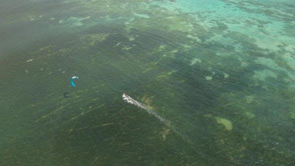 Kitesurfing on Tropical Island