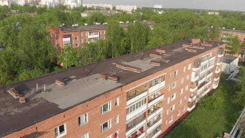 Old Houses in Zelenograd in Moscow, Russia