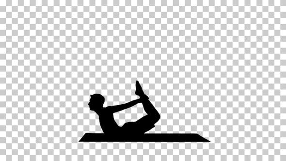 Thumbnail for Silhouette yogi man doing backbend, Alpha Channel