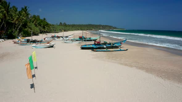 View of the Beach Fishing Boats on One of the Beaches of Sri Lanka, the Southern Part of the Island.