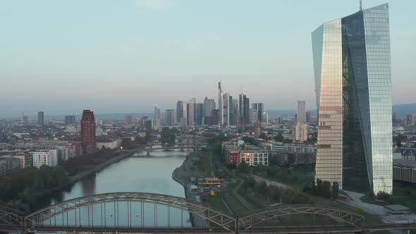 Thumbnail for European Central Bank in Early Morning Sunlight Reflection and Frankfurt Am Main Skyscrapers in