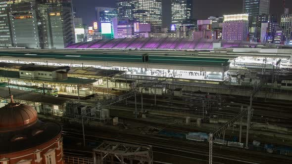 Thumbnail for Timelapse Tokyo Railway Station with Purple Illuminated Roof