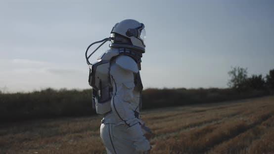 Man in Space Suit Walking