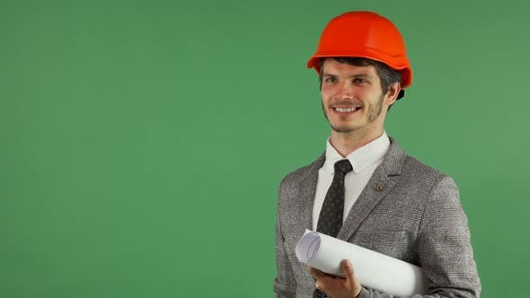Thumbnail for Cheerful Handsome Engineer Holding Copy Space on His Hand 1080p