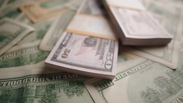 American 100 and 50 Dollar Banknotes Close Up