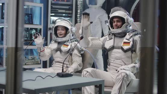 Thumbnail for German Astronauts Waving During Press Conference