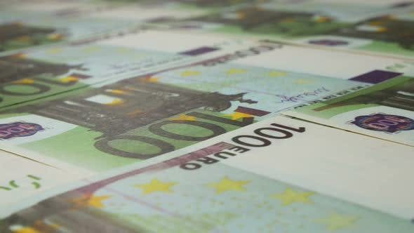 Euro Currency In Print At The Bank