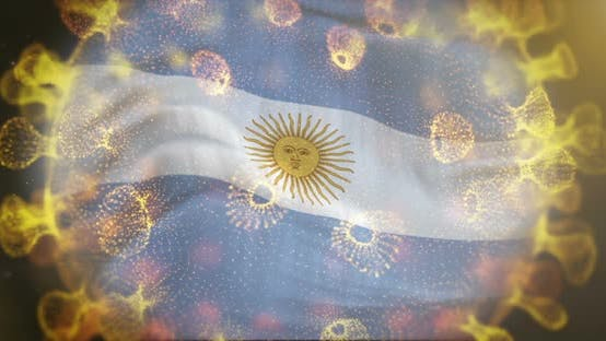 Argentina Flag With Coronavirus Microbe Centered