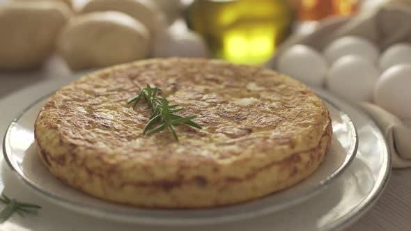 Spanish omelette, tortilla española. Close up