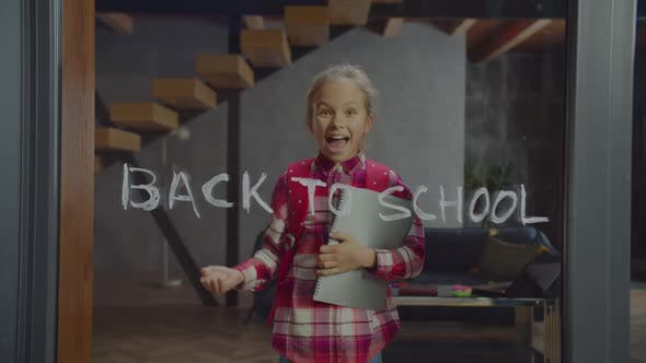 Thumbnail for Excited Cute Schoolgirl Happy Go Back To School
