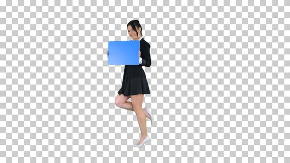 Thumbnail for Cute girl holding empty board announcing or presenting something