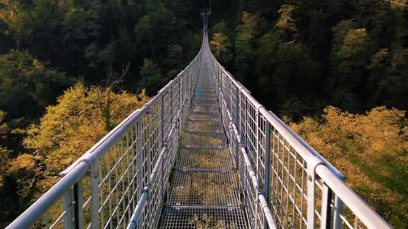 Suspended Metallic Bridge on the  Mountains