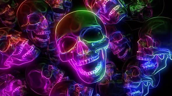 Thumbnail for Neon Skulls Halloween Background