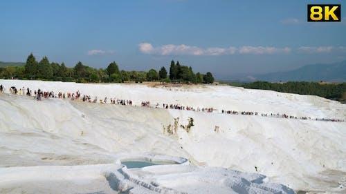 Tourists Walk Around Pamukkale Travertines