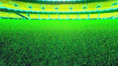 Flying On Grass In Green Stadium 01 4K