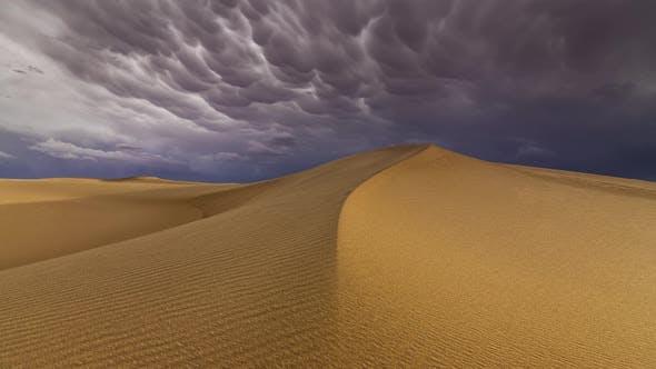 Thumbnail for Thunderstorm in the Desert. Dramatic Sky Over Sand Dune. Timelapse