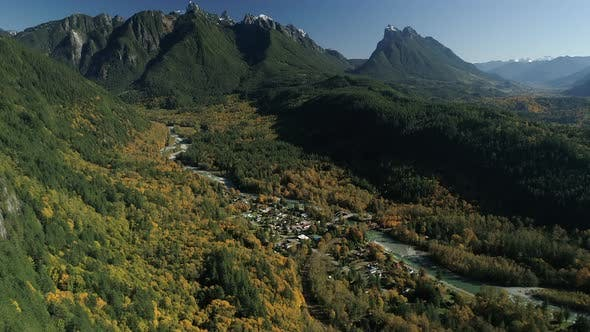 Thumbnail for Pacific Northwest Small Mountain Town Helicopter Aerial In Fall Season