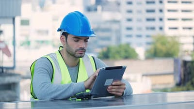 Engineer using tablet