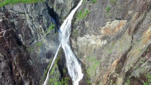Aerial top-down view of famous Voringfossen waterfall in Norway.