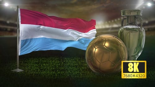 8K Luxembourg Flag with Football And Cup Background Loop