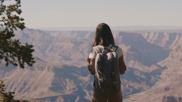 Thumbnail for Slow Motion Back View Happy Young Female Tourist Hiking, Watching Epic Grand Canyon Mountain Scenery