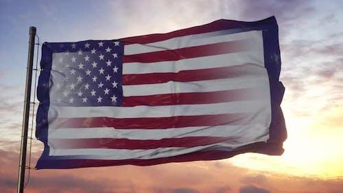 West Virginia and USA Flag on Flagpole