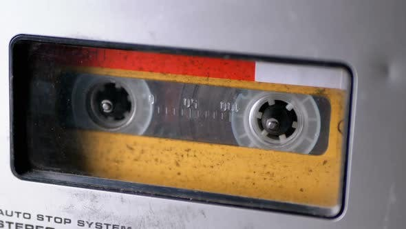 Thumbnail for Audio Tape. Vintage Tape Recorder Plays Audio Cassette Inserted Therein