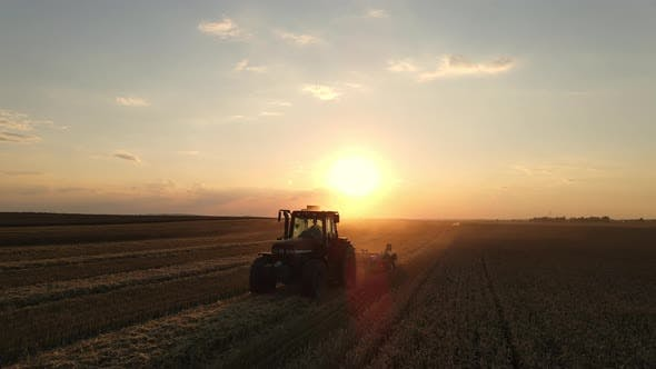 Thumbnail for Drone View: A Tractor Cultivates The Land At Sunset.