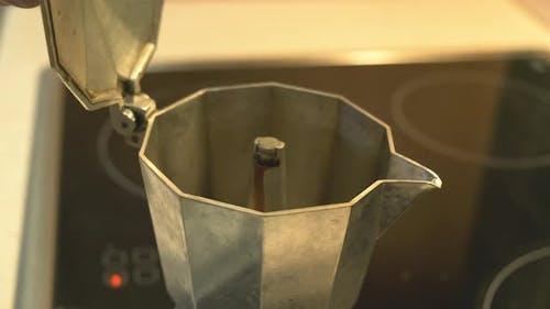 Boiling Coffee in Geyser Coffee Maker