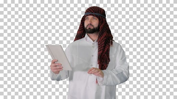 Thumbnail for Sheikh using digital tablet and walking, Alpha Channel