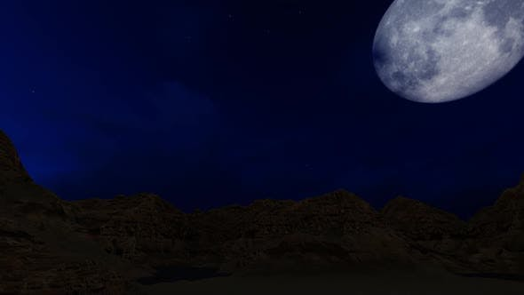 Thumbnail for Full moon over the mountains