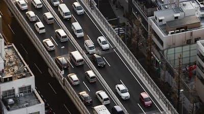 time lapse of the Metropolitan Expressway no.3 Shibuya Line and city, Tokyo, Japan