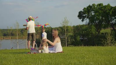 Family Leisure Together in Nature Active Pastime