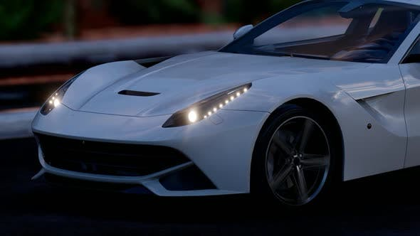White Luxury Sports Car Close Up