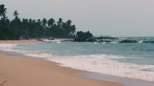 View of the Beach of Sri Lanka Waves on the Shore