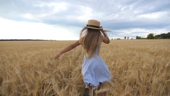 Thumbnail for Cute Child with Long Blonde Hair Running Through Wheat Field. Little Kid in Straw Hat Jogging Over