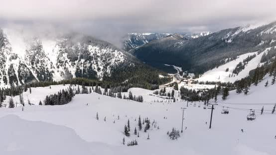 Thumbnail for Winter Recreation Resort Timelapse Zoom From Chairlift To Lodge