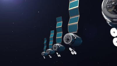 network of satellites on the background of space