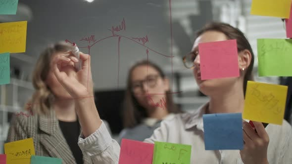 Thumbnail for Creative Business Team Brainstorming Ideas Working Together Near Glass Wall With Sticky Notes