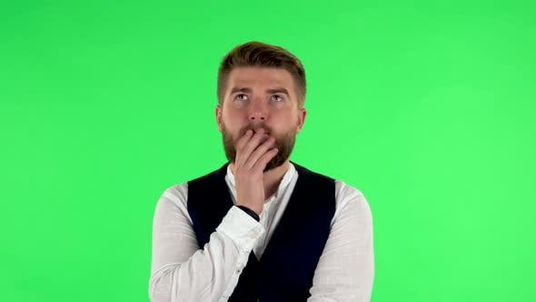 Thumbnail for Man Thinks About Something, and Then an Idea Comes To Him, Green Screen