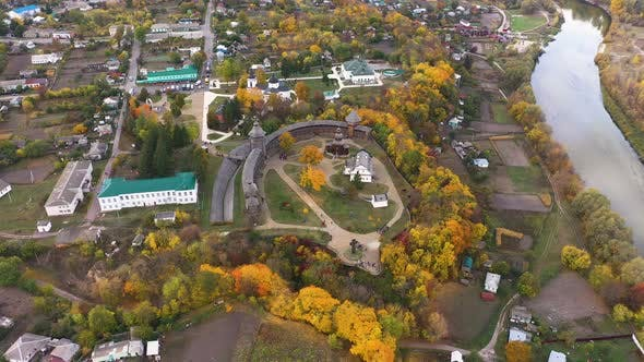 Amazing Aerial Panoramic View of Ukraine Wooden Fortress in Baturin at Autumn