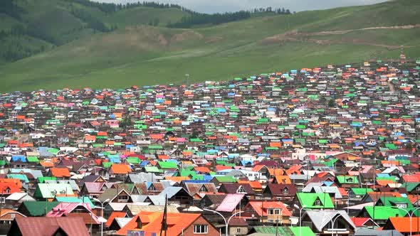 City Landscape of Colorful Houses in Mongolia